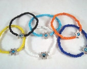 Luck of the Eye Star of David Evil Eye Seed Bead Stretch Bracelet Protection