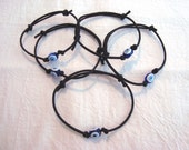 Evil Eye Adjustable Black or Red Cord Bracelet Greek Turkish Nazar Mati Protection