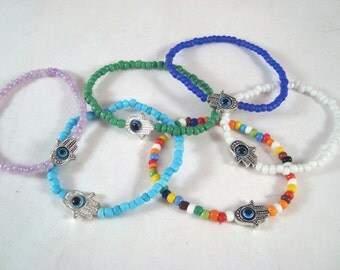 Kabbalah Hamsa Evil Eye Stretch Bracelet Fatima Nazar Mati