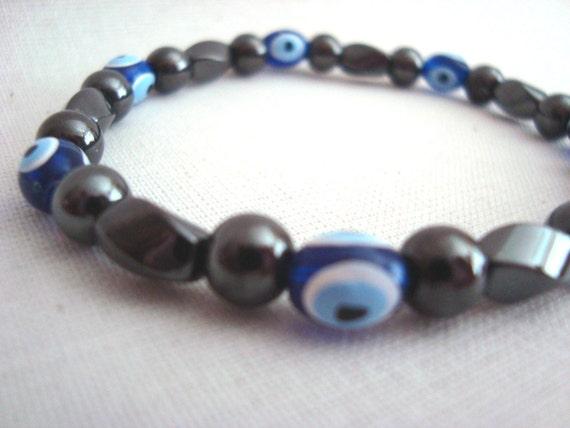 Magnetic Hematite Evil Eye Stretch Bracelet Nazar Mati Protection