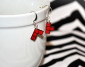 Red Tetramino Earrings Set