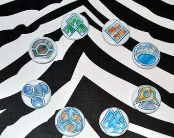 "Sinnoh Region Pokemon 1"" Pinback Gym Badges"