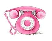 Vintage Telephone, Pink (original watercolor, 5in x 7in)