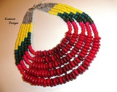 5 Strand Wood Beaded Collar Necklace in Red Green and Yellow