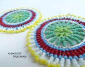 Zulu Beadwork Inspired Earrings in Vibrant Multi Colors