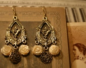 Pretty Brass and Mother of Pearl Floral Earrings