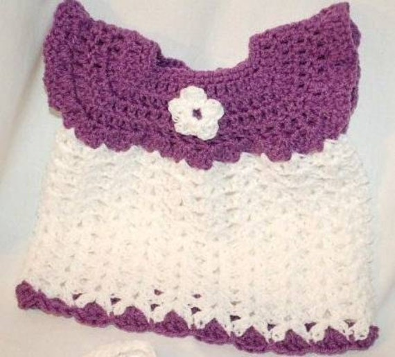 Dress Set -Dress, Diaper Cover, & Booties in Plum and White