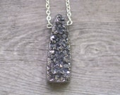 SALE Silver Druzy Necklace - Grey Gray Natural Agate Stone Pendant Necklace on Silver Plated Cable Chain