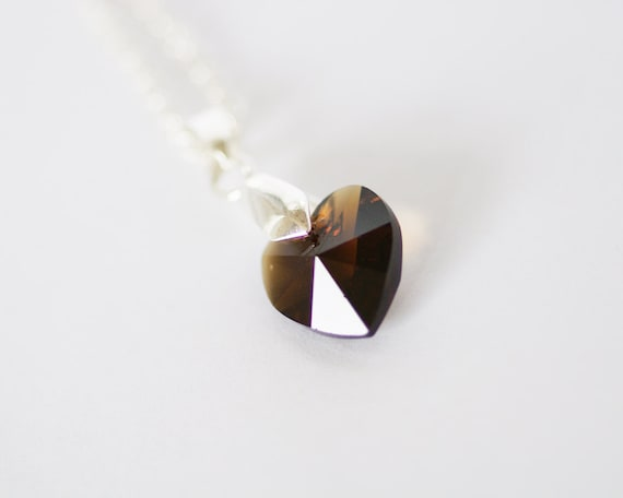 Chocolate Brown Heart Necklace Swarovski Crystal Love Pendant on Silver Plated Chain
