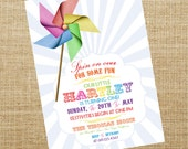 Printable Pinwheel Invitation- Birthday