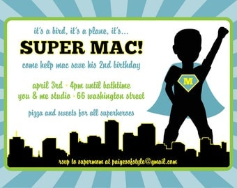 Printable Superhero Birthday Invitation, DIY