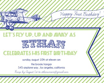 Airplane Invitation- Vintage, Printable