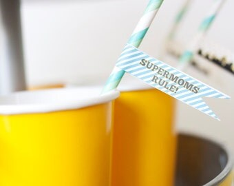 DIY Printable Straw Flags - Superhero Party