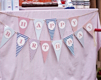 Train Happy Birthday Banner - DIY, Printable, Instant Download