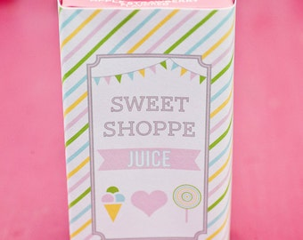 DIY Printable Juice Box Wraps - Sweet Shoppe Party