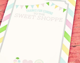DIY Printable Thank You Card - Sweet Shoppe Party