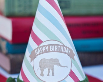DIY Printable Party Hat - Zoo/Safari Party