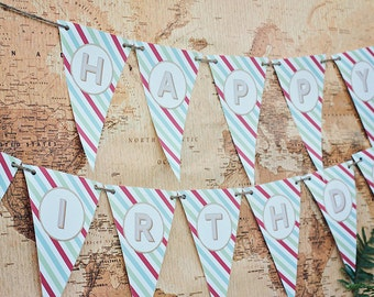 DIY Printable Happy Birthday Banner - Zoo/Safari Party