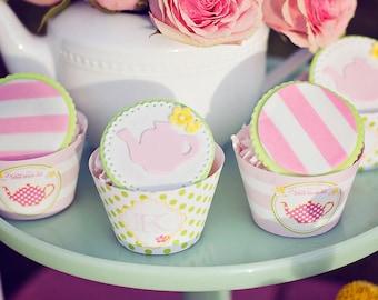 DIY Printable Cupcake Wrappers - Garden Tea Party