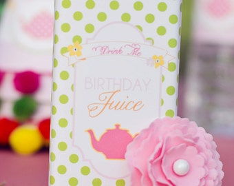 DIY Printable Juice Box Wraps - Garden Tea Party