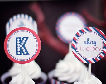 DIY Printable Cupcake Toppers- Custom Ahoy it'a boy 2 inch party circles, cupcake toppers, favor tags- nautical