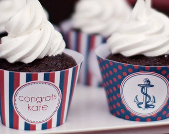 DIY Printable Custom Cupcake Wrappers- Ahoy It's a Boy- Nautical