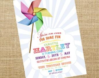 Printable Pinwheel Invitation- Birthday