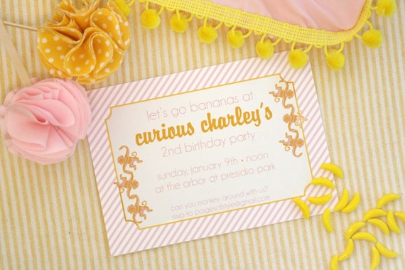 Printable Girls Monkey Birthday Invitation-DIY
