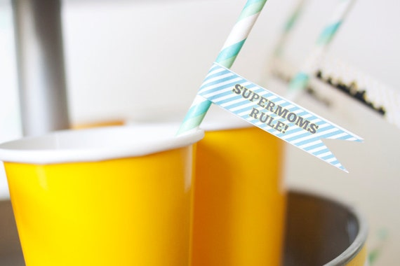 DIY Printable Straw Flags - Superhero Party