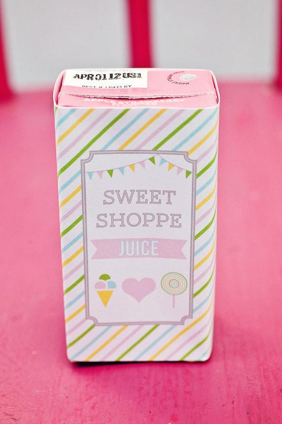 DIY Printable Juice Box Wraps - Sweet Shoppe Party