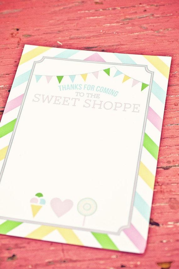 DIY Printable Thank You Card - Sweet Shoppe Party