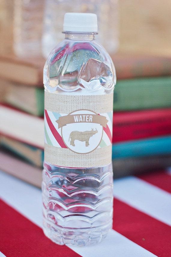 DIY Printable Water Bottle Labels - Zoo/Safari Party