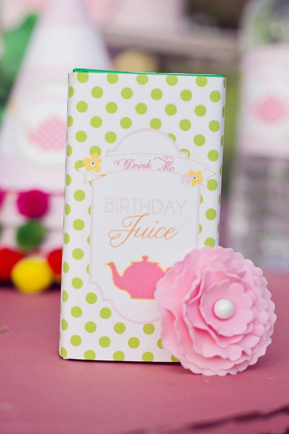 DIY Printable Juice Box Wraps - Garden Tea Party