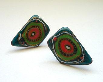 Abstract Modernist Copper Enamel Earrings