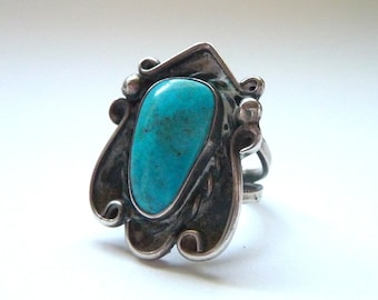 1970s Sterling and Turquoise Ring