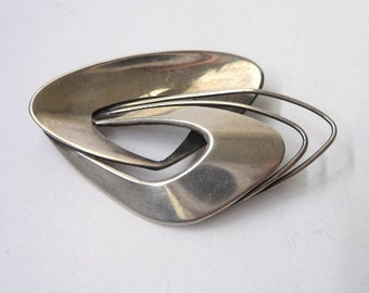 Abstract Modernist Sterling Silver Brooch by Gema