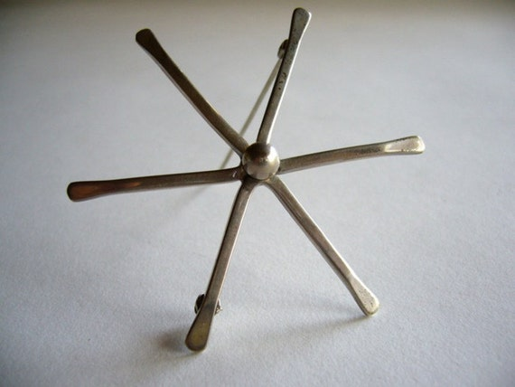 Modernist Sterling Silver Star Brooch by North