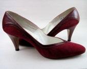 SALE - Scarlet Suede Kitten Heels with Leather Wingtip Trim Size 6.5 Narrow - 6 1/2 N