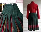 Petite Pleated Plaid Pendleton Midi Skirt Woven in Forest Green, Yellow, Pink and Red Wool - Medium