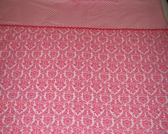 SALE! Pink and White Damask Crib/Toddler Bedding Quilt
