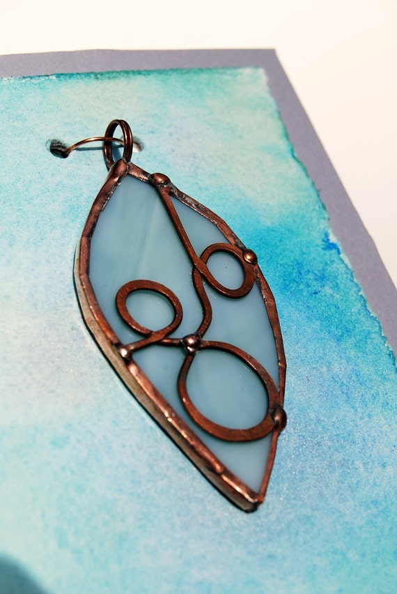 Soft Blue Leaf Shaped Stained Glass Metal Pendant Necklace (412)