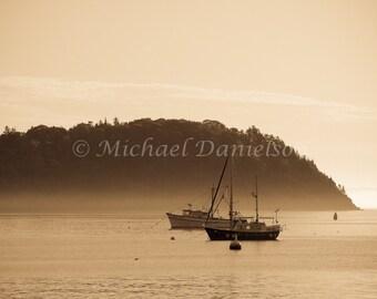 Photograph Sail Boat Print Morning in Bar Harbor Sepia