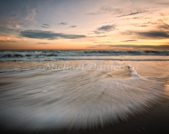 Sunset and Waves Photograph Long Island Beach 8x10