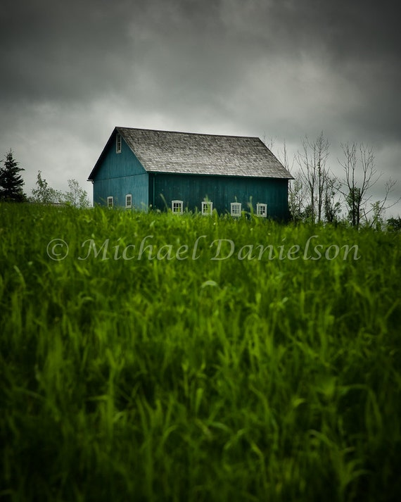 Country Barn Aqua Blue Color Photograph Print