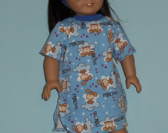 Blue Princess Puppy Night Shirt Handmade To Fit American Girl Doll and Other 18 Inch Dolls