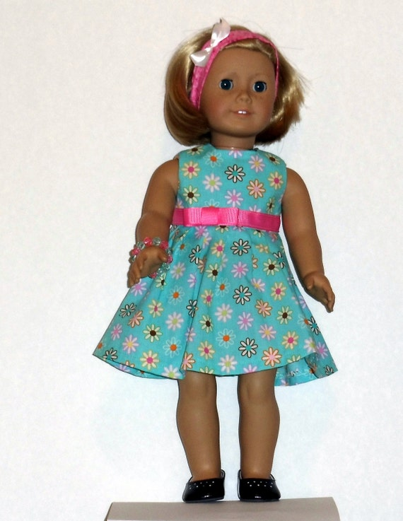 American Girl Doll Daisy Galore Dress in Aqua Fits Other 18 Inch Dolls
