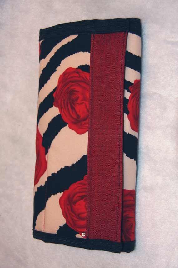 Red Creme Zebra Scissor Shear Makeup Paint Brush Case