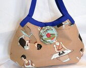 Pre-Holiday SALE!! 25% Off - Domestic Diva -- Granny Hobo Bag with Removeable Flower Pin --- READY to SHIP