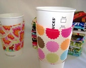FREE SHIPPING --- Eco-Friendly Coffee/Tea Sleeve --- Lots of Dots