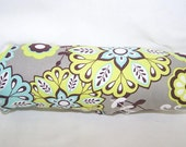 Reversible Car Seat ARM PAD Handle Cover -- Blue Green Brown Medallions and Waves